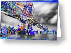 New York City Manhattan Bridge Pure Pop Blue Greeting Card