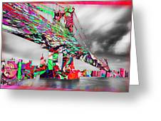 New York City Manhattan Bridge Pure Pop Red Greeting Card