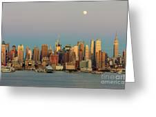 New York City Moonrise I Greeting Card