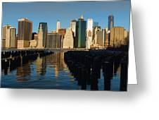 New York City Morning Reflections - Impressions Of Manhattan Greeting Card