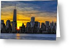 New York City Skyline At Dawn Greeting Card