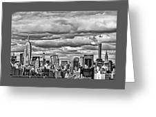 New York City Skyline B And W Greeting Card