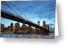 New York City Skyline By Night Greeting Card