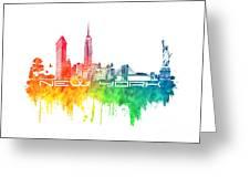 New York City Skyline Color Greeting Card