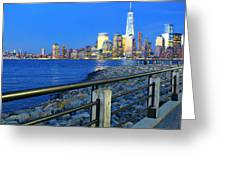 New York City Skyline From Liberty State Park In Jersey City New Jersey #3 Greeting Card