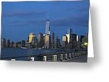 New York City Skyline From Liberty State Park In Jersey City New Jersey Greeting Card