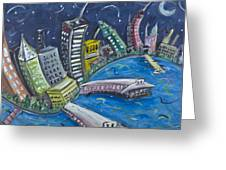 New York City Skyline Hoboken Greeting Card