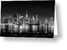 New York City Skyline Panorama At Night Bw Greeting Card