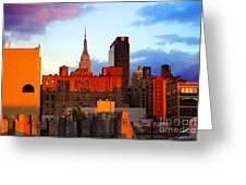 New York City Skyline Sunset Greeting Card