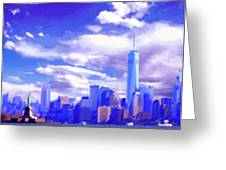 New York City Skyline With Freedom Tower Greeting Card