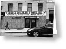 New York City Storefront Bw4 Greeting Card