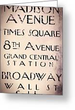 New York City Street Sign Greeting Card