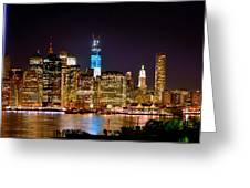 New York City Tribute In Lights And Lower Manhattan At Night Nyc Greeting Card