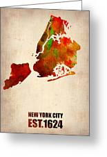 New York City Watercolor Map 2 Greeting Card