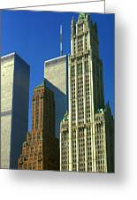 New York City - Woolworth Building And World Trade Center Greeting Card