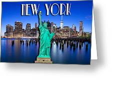 New York Classic Skyline With Statue Of Liberty Greeting Card
