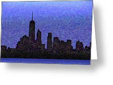 New York Downtown Skyline Greeting Card