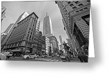 New York Fifth Avenue Taxis Empire State Building Black And White Greeting Card