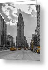 New York - Flatiron Building And Yellow Cabs - 2 Greeting Card