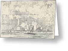 New York From Ellis Island Greeting Card