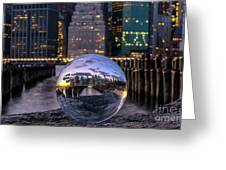 New York In Glass Ball Greeting Card