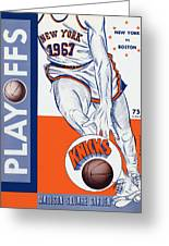 New York Knicks V Boston 1967 Playoff Program Greeting Card