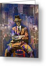 New York Man Seated City Background 1 Greeting Card