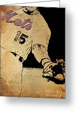New York Mets 15 Red And Blue Vintage Cards On Brown Background Greeting Card
