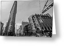 New York Ny Flatiron Building Fifth Avenue Black And White Greeting Card