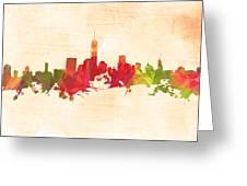 New York Orange Skyline Greeting Card