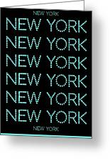 New York - Pale Blue On Black Background Greeting Card