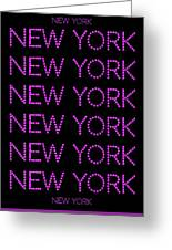 New York - Pink On Black Background Greeting Card