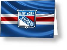 New York Rangers - 3d Badge Over Flag Greeting Card