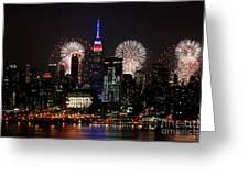 New York Skyline And Fireworks Greeting Card