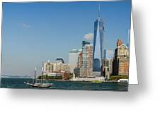New York Skyline And Sailboat Greeting Card