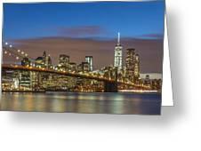 New York Skyline - Brooklyn Bridge Panorama - 2 Greeting Card