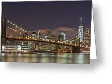New York Skyline - Brooklyn Bridge Panorama - 3 Greeting Card
