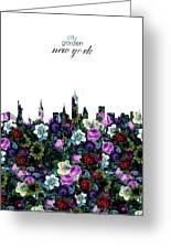 New York Skyline Floral 3 Greeting Card