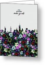 New York Skyline Floral 4 Greeting Card