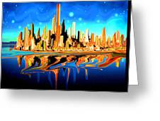 New York Skyline Blue Orange - Modern Art Greeting Card