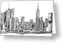 New York Skyline In Ink Greeting Card