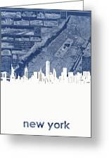 New York Skyline Map 2 Greeting Card