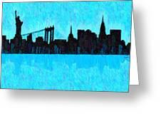 New York Skyline Silhouette Cyan - Da Greeting Card