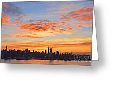 New York Skyline Sunrise Clouds And Color Greeting Card