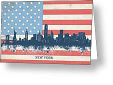 New York Skyline Usa Flag 4 Greeting Card