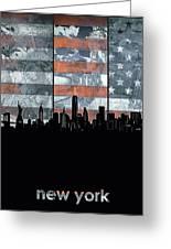 New York Skyline Usa Flag 5 Greeting Card
