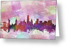 New York Skyline Watercolor 3 Greeting Card