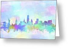 New York Skyline Watercolor 7 Greeting Card
