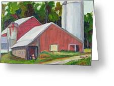 New York State Farm With Silos Greeting Card