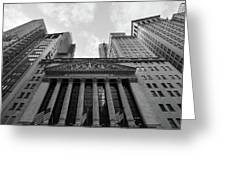New York Stock Exchange Black And White Greeting Card